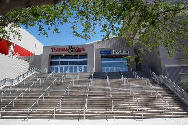 The conjoined entrances of the Thomas & Mack Center and Cox Pavilion is being proposed as an additional main entrance Tuesday, April 30, 2013.