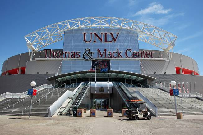 The front exterior of the Thomas & Mack Center Tuesday, April 30, 2013.