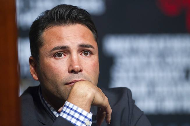 Oscar De La Hoya, president of Golden Boy Promotions, attends a news conference at the MGM Grand Wednesday, May 1, 2013.