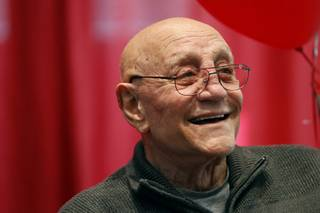 Coach Jerry Tarkanian smiles during the announcement of the creation of The Jerry Tarkanian Legacy Project, which includes a statue of Tarkanian and his ubiquitous towel,  Wednesday, May 1, 2013.