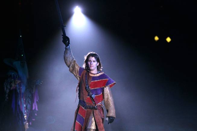 "Thomas Arlt, 18, a local high school senior, plays Prince Christopher in the ""Tournament of Kings"" dinner show on Wednesday, May 1, 2013 at the Excalibur in Las Vegas."
