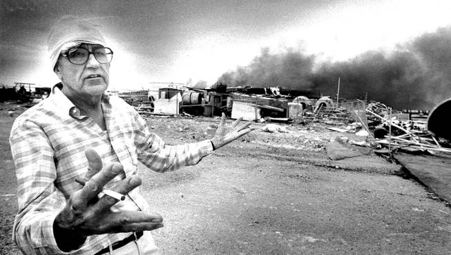 Fred Gibson Jr., president of the Pacific Engineering Production Company of Nevada (PEPCON), explains the circumstances leading to the two explosions that destroyed the Henderson-based rocket fuel plant on May 4, 1988.