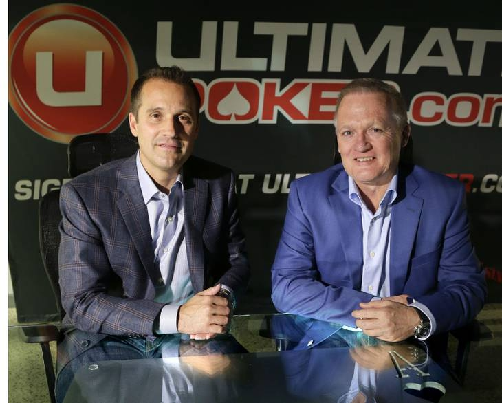 Ultimate Gaming chairman Tom Breitling, left, and CEO Tobin Prior sit for a photo at their company headquarters, Monday, April 29, 2013, in Las Vegas.