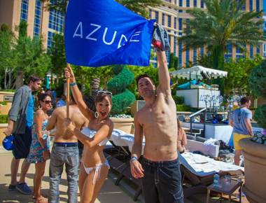 """American Idol"" alumni and engaged couple Ace Young and Diana DeGarmo host at Azure Luxury Pool in the Palazzo on Saturday, May 4, 2013."