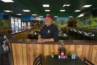 Brad Burdsall, owner and chief engineer, poses inside the Egg and I restaurant, 4533 W. Sahara Ave., Sunday, May 5, 2013. The restaurant reopens May 6, five weeks after a car crashed into the restaurant injuring 10 people.