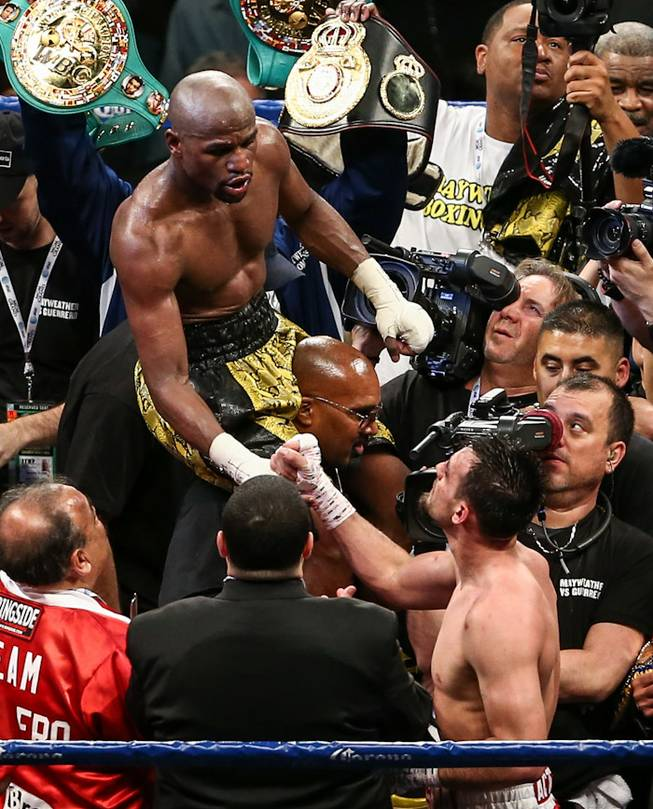 Floyd Mayweather Jr. vs. Robert Guerrero at MGM Grand Garden Arena in Las Vegas on Saturday, May 4, 2013. Mayweather Jr. won a unanimous decision to retain his welterweight titles.