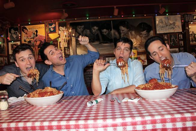 "Cast members of ""Jersey Boys"" get sloppy at Buca di Beppo. From left, Rob Marnell, Travis Cloer, Deven May and Jeff Leibow."