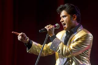 Elvis tribute artist Victor Trevino performs during a special 30th anniversary performance of Legends in Concert at the Flamingo Showroom Monday, May 6, 2013.