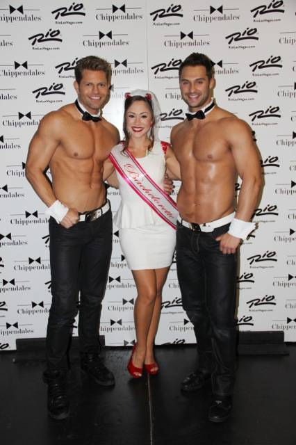 "Diana DeGarmo is flanked by Chippendales headliners and ""The Amazing Race"" stars Jaymes Vaughan and James Davis at The Rio in Las Vegas."