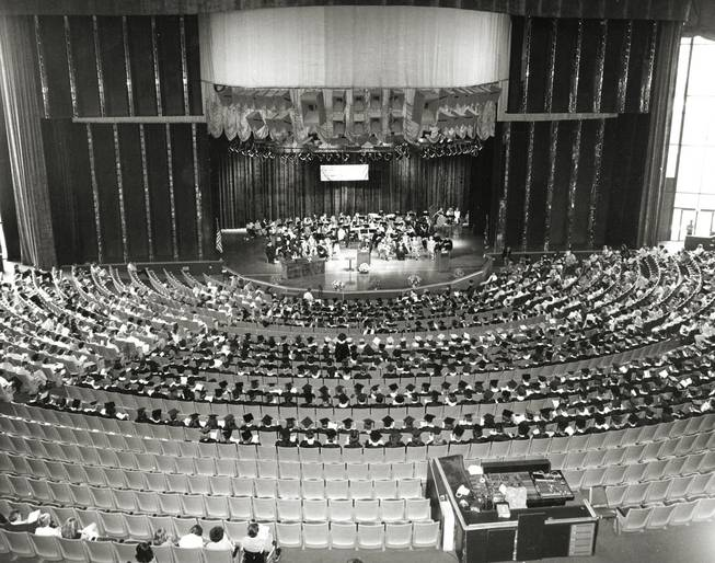 UNLV's 1977 commencement held inside the Aladdin Theatre for the Performing Arts. (UNLV Special Collections)