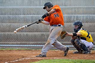 Chaparral's Brian Moya bats during a playoff game against the Boulder City Eagles in Boulder City Tuesday, May 7, 2013.