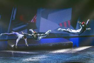 Dancers and acrobats perform during a sneak preview of the