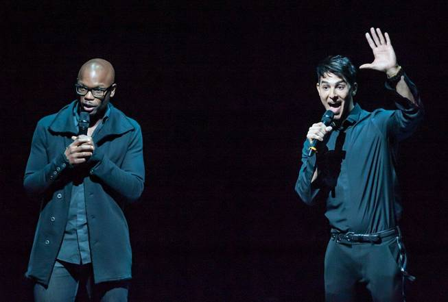 "Welby Altidor, left, director of creation, and Jamie King, writer and director, attend the sneak peek of Cirque du Soleil's ""Michael Jackson One"" at Mandalay Bay on Tuesday, May 7, 2013."