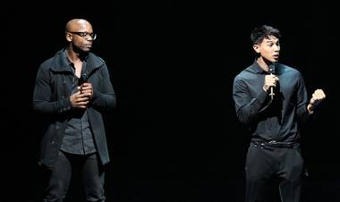 "Welby Altidor, director of creation, and Jamie King, director and writer, introduce a sneak peek of Cirque du Soleil's ""Michael Jackson One"" at Mandalay Bay on Tuesday, May 7, 2013."
