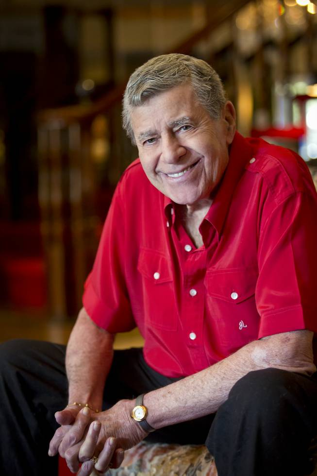Jerry Lewis poses for a portrait in his Las Vegas home Wednesday, May 8, 2013.