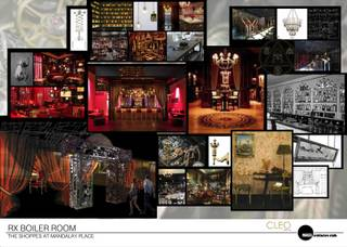 The mood board for chef Rick Moonen's Rx Boiler Room at Mandalay Bay in Las Vegas.