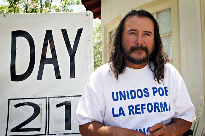 Salvador Zamora, 51, is engaged in a hunger strike to raise awareness of the need for immigration reform. Here, Zamora was on day 21 of his strike, but as of Thurs. May 9, 2103 Zamora had not eaten in 30 days. He says he will end the strike when he sees a favorable result for immigration reform or his body gives out on him, whichever comes first.