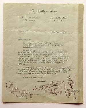 "A letter from The Rolling Stones to Carlos Santana asking for permission to use his image and music in the documentary ""Gimme Shelter."""