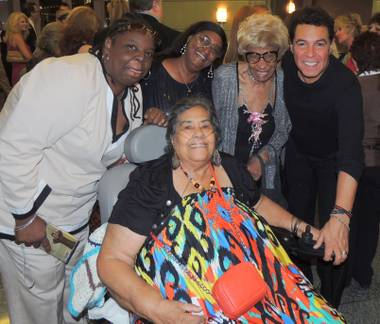 Posing with Gloria Bullard at Cabaret Jazz on May 3 are her niece Corazon Ficklin, her daughter Victoria Ficklin, her cousin Mary Fauntleroy and Clint Holmes.