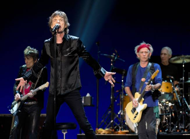 Ronnie Wood, Mick Jagger, Charlie Watts and Keith Richards of The Rolling Stones perform at MGM Grand Garden Arena on Saturday, May 11, 2013.