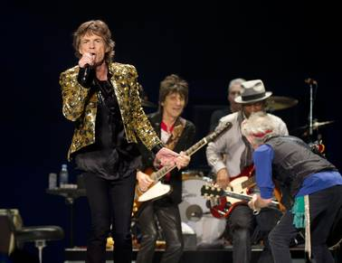 Mick Jagger, Ronnie Wood, Charlie Watts, Darryl Jones and Keith Richards of The Rolling Stones perform at MGM Grand Garden Arena on Saturday, May 11, 2013.