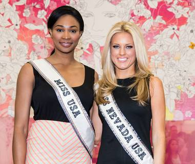 2012 Miss USA Nana Meriwether and 2013 Miss Nevada USA Chelsea Caswell attend a meet-and-greet sponsored by Chinese Laundry at The Exchange at Nellis Air Force Base in North Las Vegas on Saturday, May 11, 2013.