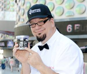 "Penn Jillette launches his ""All-Star Celebrity Apprentice"" ice cream flavor at Walgreens on the Strip on Monday, May 13, 2013."