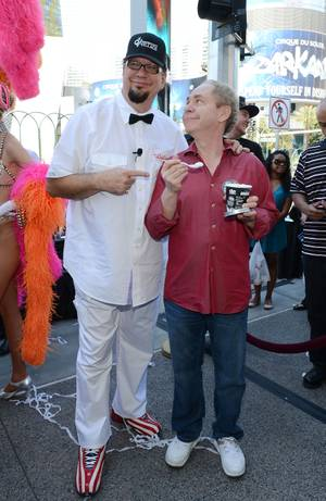 "Penn Jillette, left, with Teller, launches his ""All-Star Celebrity Apprentice"" ice cream flavor at Walgreens on the Strip on Monday, May 13, 2013."
