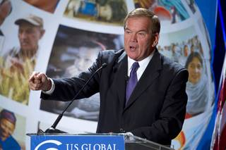 Tom Ridge, former Secretary of Homeland Security, speaks during