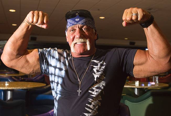 Professional wrestling legend Hulk Hogan poses during an interview at the Orleans Wednesday, May 15, 2013. Hogan, general manager of TNA Entertainment, will bring a TNA Impact Wrestling pro wrestling event to the arena in June.