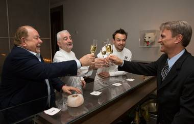 Robin Leach, Guy Savoy, Matthieu Chartron and a sommelier at Restaurant Guy Savoy in Caesars Palace.
