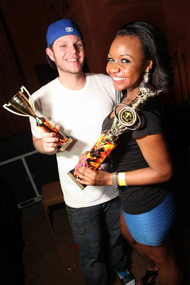 Hot wings winners Michael Leahy and Ariana Reed at Diablo's Cantina in Monte Carlo.