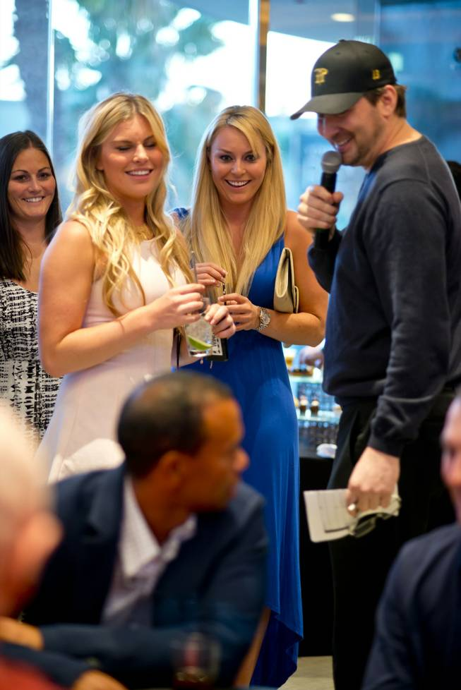 Lindsey Vonn and Phil Hellmuth at Tiger's Poker Night sponsored by World Poker Tour at Moorea Beach Club at Mandalay Bay on Friday, May 17, 2013.