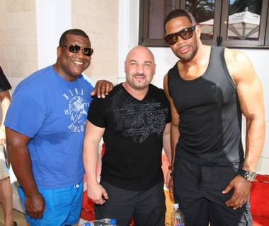Curt Menefee, Jay Glazer and Michael Strahan at Encore Beach Club on Saturday, May 18, 2013.