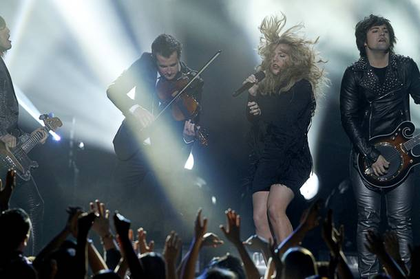 Members of The Band Perry perform during the 2013 Billboard Music Awards at the MGM Grand Garden Arena Sunday, May 19, 2013.