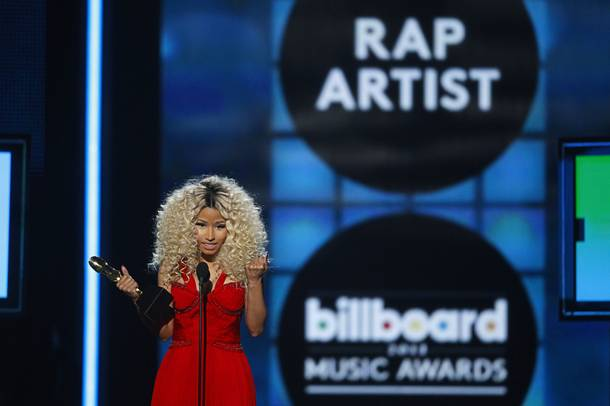 Rapper Nicki Minaj accepts the award for Top Rap Artist during the 2013 Billboard Music Awards at the MGM Grand Garden Arena Sunday, May 19, 2013.