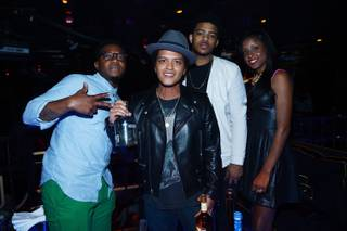 James King, Bruno Mars, Kameron Whalum and Ashley King at The Bank in Bellagio on Sunday, May 19, 2013. Mars served as host and performer.