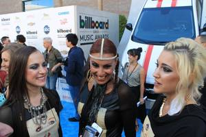 Prince's band, 3rd Eye Girl, stops on the blue carpet during the 2013 BIllboard Music Awards at MGM Grand Garden Arena on Sunday, May 19, 2013.