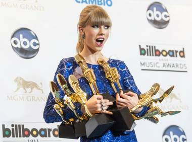 Taylor Swift backstage at the 2013 Billboard Music Awards at MGM Grand Garden Arena on Sunday, May 19, 2013. Swift won eight awards.