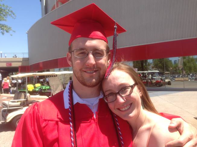 Darrel Mally and his girlfriend, Sarah Erskine, were celebrating Sunday after the UNLV commencement.