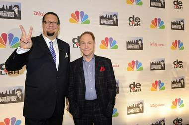 "Penn Jillette and Teller on the finale of ""All-Star Celebrity Apprentice"" on NBC on Sunday, May 19, 2013."