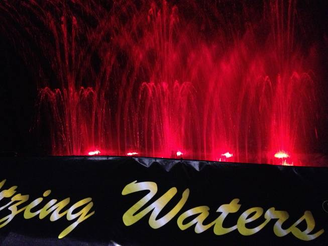 "A live water show was on display at Waltzing Waters' booth at RECon, the retail industry trade show at the Las Vegas Convention Center, on May 20, 2013. The company produced a water show for the HBO movie ""Behind the Candelabra,"" which tells the story of Liberace."