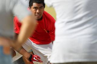 Liberty High School lineman Jarvis Polu during practice Tuesday, May 21, 2013.