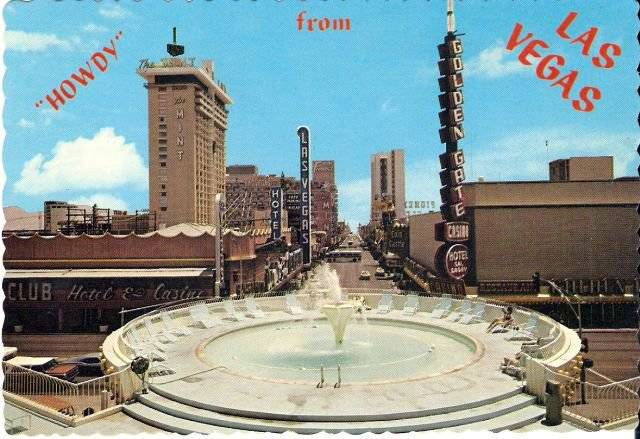 A postcard of the old Union Plaza hotel pool.