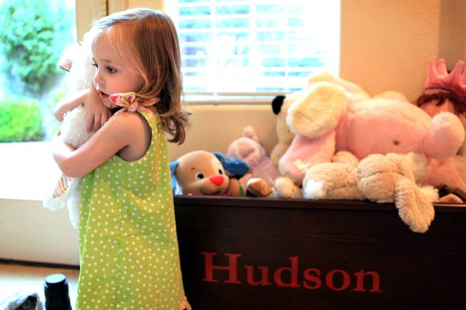 Hudson Whitwell, 2, inside her home in Las Vegas on Wednesday, May 22, 2013.