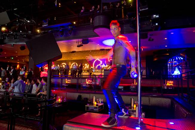 A Cirque du Soleil performer dances at the Light nightclub at Mandalay Bay Thursday, May 23, 2013. The new 38,000 sq. ft. club is a collaboration by Cirque and The Light Group.