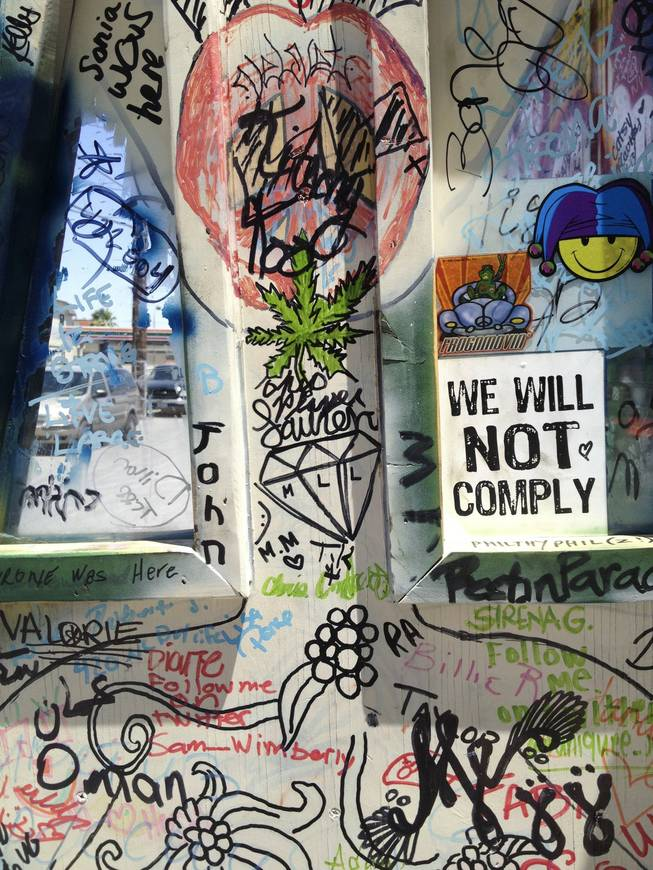 "A closeup of the writings and drawings on Donny ""Skyy"" Squires' the ""Magic Jukebox"" bus, Tuesday, May 28, 2013."