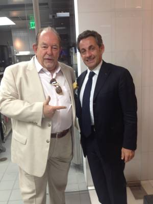 Robin Leach and Nicholas Sarkozy at Restaurant Guy Savoy in Caesars Palace.