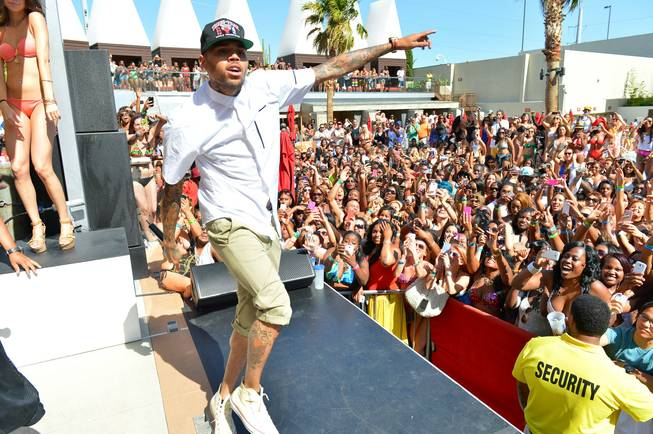 Chris Brown performs at Palms Pool on Sunday, May 26, ...