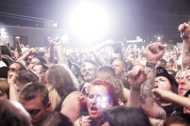 Fans sing along during the Turbonegro performance at the Punk Rock Bowling & Music Festival, Sunday, May 26, 2013.